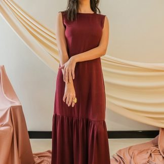 Skye Maroon Backless Maxi Dress Stone Grey