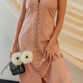 summer peach midi dress slow fashion