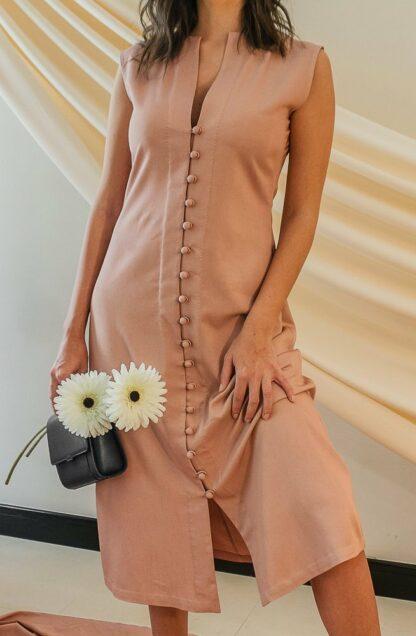 summer peach midi dress slow fashion