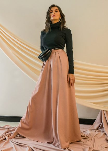 Summer Peach Palazzo Trousers Stone Grey Dubai Slow Fashion