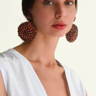 rainbow victoria raffia earrings