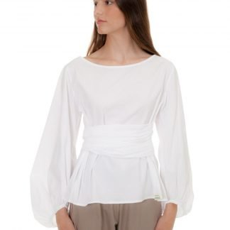 white starred blouse with bow castano de indias sustainable fashion