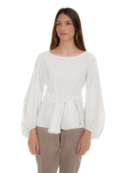 off white blouse with bow castano de indias sustainable fashion