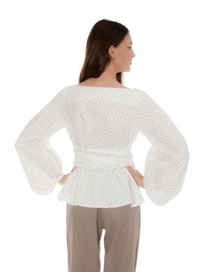 Off white starred blouse with bow castano de indias sustainable fashion