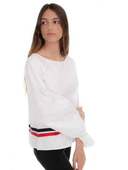 White Cotton blouse two stripes castano de indias sustainable fashion