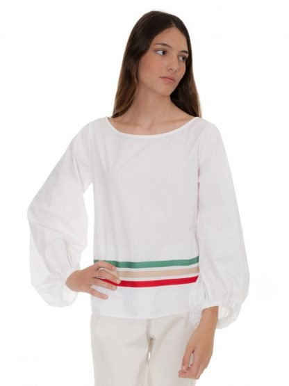 white cotton blouse three stripes castano de indias sustainable fashion