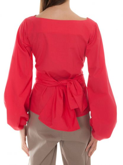 red blouse with bow castano de indias sustainable fashion