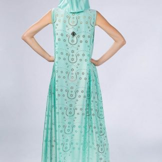 light hooded mint kaftan slow fashion