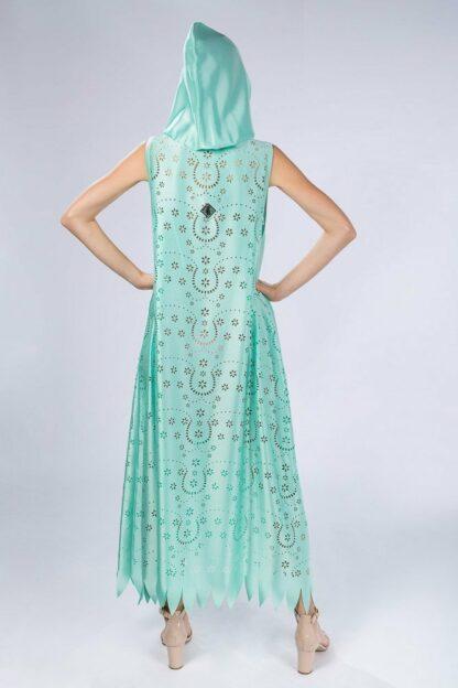 light hooded mint kaftan slow fashion