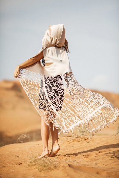 LIGHT HOODED DESERT SAND KAFTAN