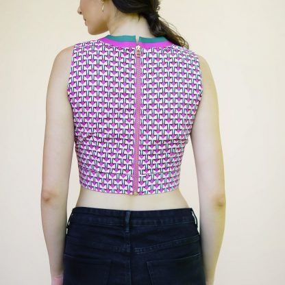 geometric pink crop top vino supraja sustainable fashion