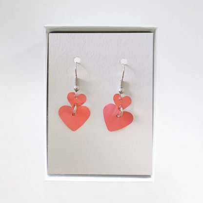 Hanging Heart Pink Earrings Mariska Nell Upcycled Fashion