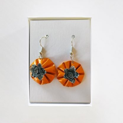 Hanging Roses Orange Earrings Mariska Nell Upcycled Fashion