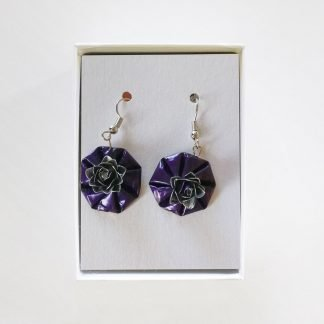 Hanging Roses Purple Earrings Mariska Nell Upcycled Fashion