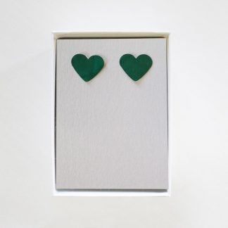 Heart Stud Green Earrings Mariska Nell Upcycled Fashion