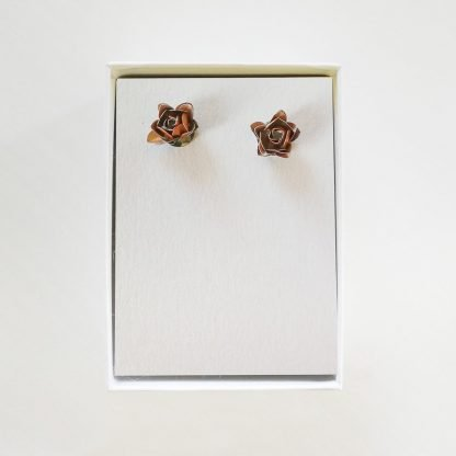 Salmon Rose Stud Earrings Mariska Nell Upcycled Fashion