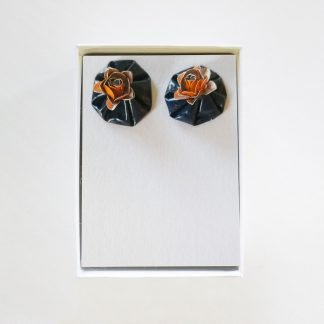 Roses Grey Orange Earrings Mariska Nell Upcycled Fashion