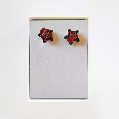 Roses Stud Red Green Earrings Mariska Nell Upcycled Fashion