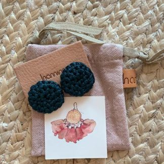 HAMIMI HANDMADE SLOW FASHION HAM053 Fefara Crochet Stud Earrings - Teal - Nous Wanderlust Stories
