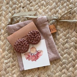 HAMIMI HANDMADE SLOW FASHION HAM054 Fefara Crochet Stud Earrings - Mink - Nous Wanderlust Stories