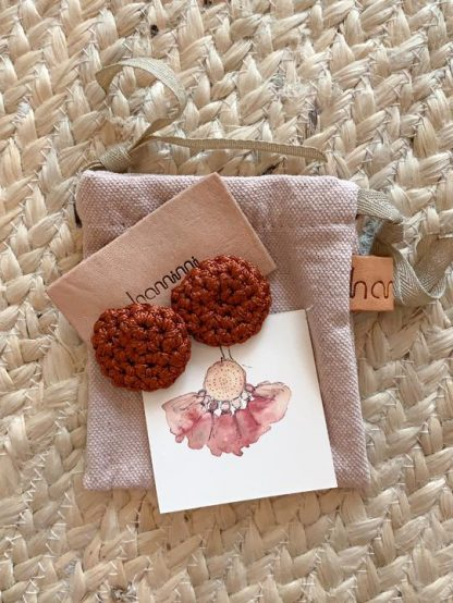 HAMIMI HANDMADE SLOW FASHION HAM055 Fefara Crochet Stud Earrings - Henna - Nous Wanderlust Stories