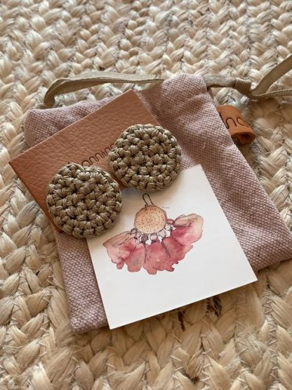 HAMIMI HANDMADE SLOW FASHION HAM056 Fefara Crochet Stud Earrings - Clay - Nous Wanderlust Stories