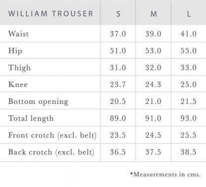 William eco-friendly trousers measurements