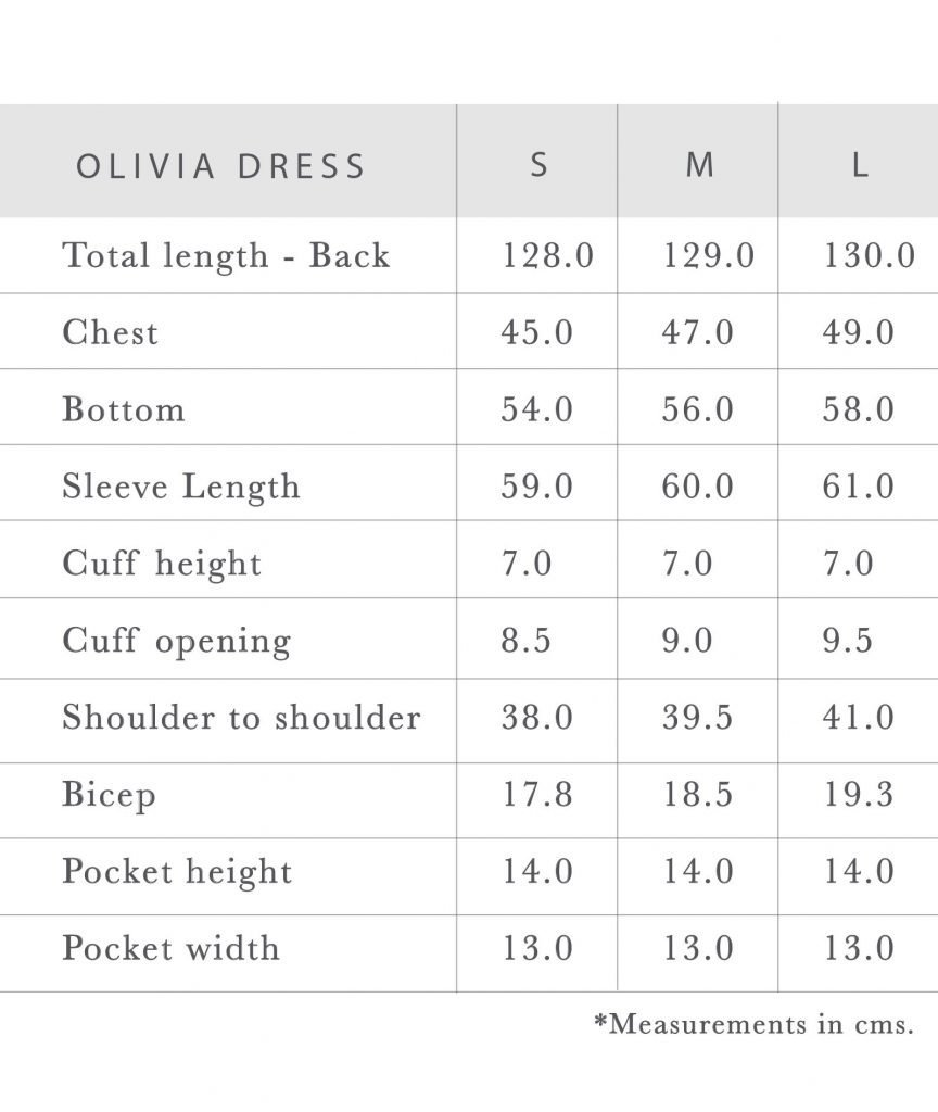 Sustainable Clothing Olivia Dress Measurements