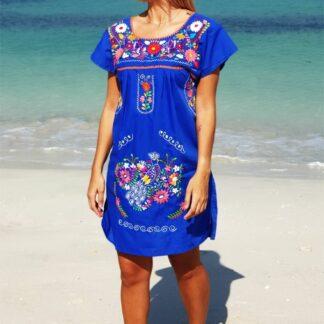 DONAJI BLUE SHORT DRESS BEACHWEAR FAIR TRADE
