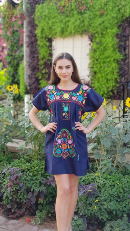 Donaji Blue Navy Dress Handmade dress mexican dress