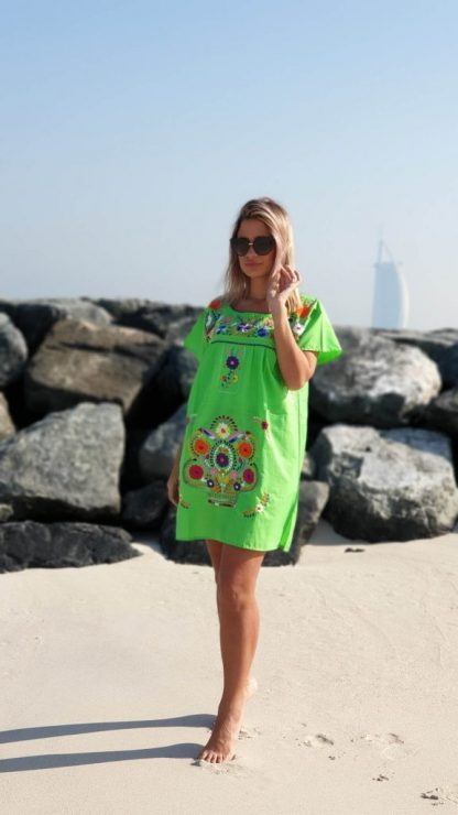 Green Donaji dress Mexican dress fair trade