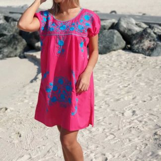 Pink Donaji Short Dress Handmade embroidered dress