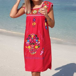 Red Donaji Dress Fair trade Mexican dress