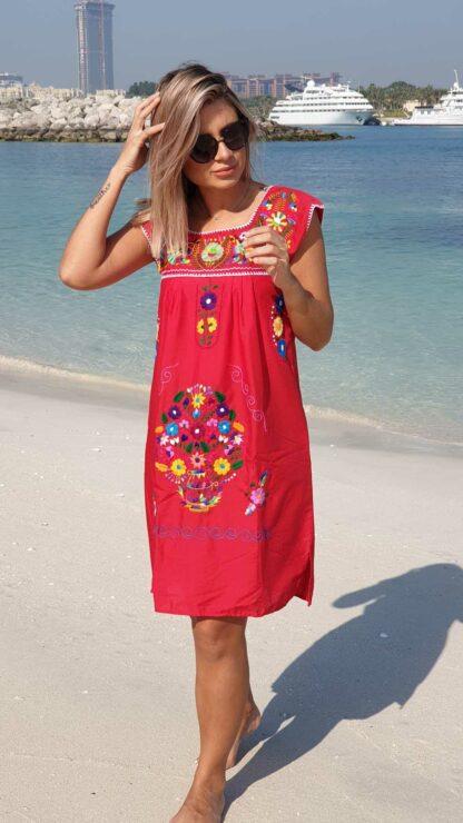 Red Donaji Dress Fair trade Mexican dress