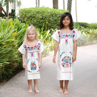 Mini White Donaji Dress Handmade dress embroidered dress for kids
