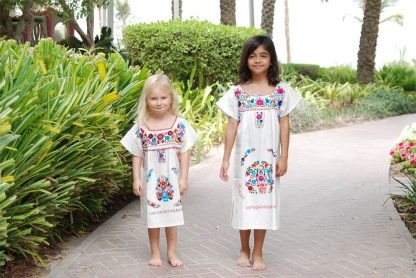 Mini White Donaji Dress Handmade dress embroidered dress for kids