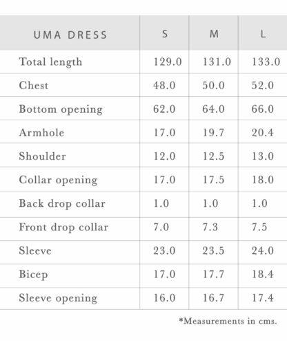 Uma sustainable dress measurements