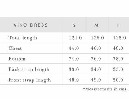 Viko sustainable dresses measurements