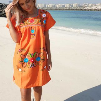 orange donaji short dress mexican dress fair trade
