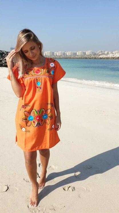 orange donaji short dress mexican dress fair trade