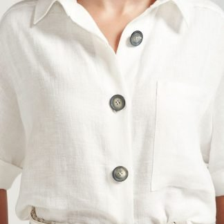 TONI BLOUSE WHITE LINEN SUSTAINABLE OFFICEWEAR