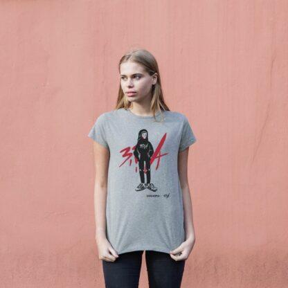 Maha in Bravaa in Grey- Organic cotton t-shirt for ladies