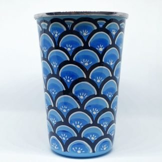 Handpainted stainless steel cup blue and black waves