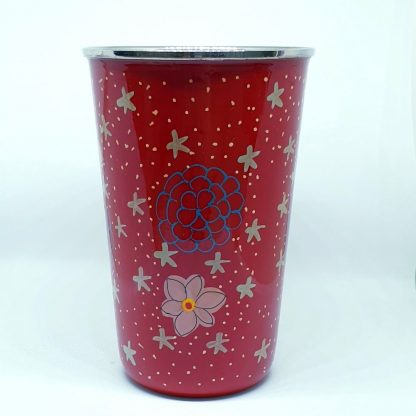 Handpainted stainless steel cup Red flowers and stars