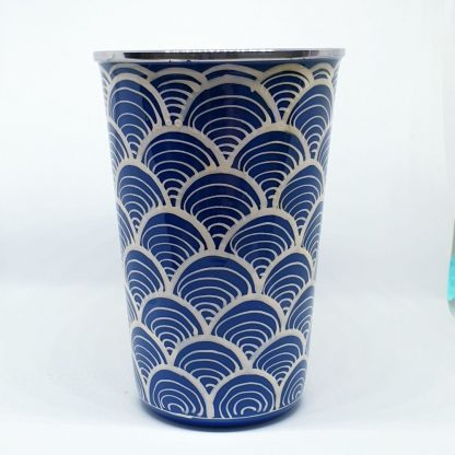 Handpainted stainless steel cup blue and white waves