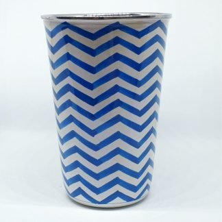 Handpainted stainless steel cup blue chevron
