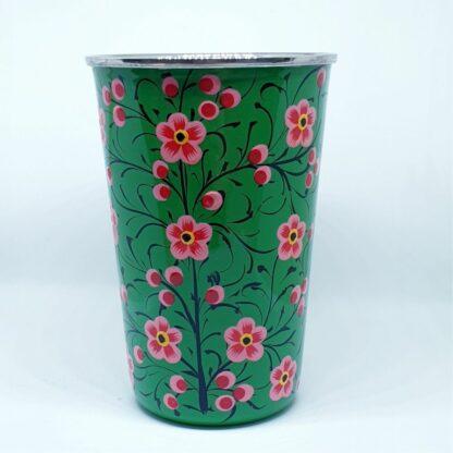 Handpainted stainless steel cup Green flowers