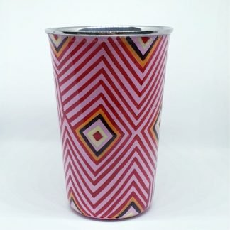 Handpainted stainless steel cup pink geometric