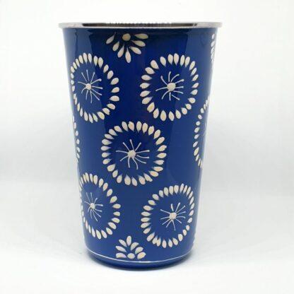 Handpainted stainless steel cup blue dandelions