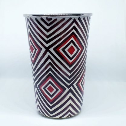 Handpainted stainless steel cup white geometric